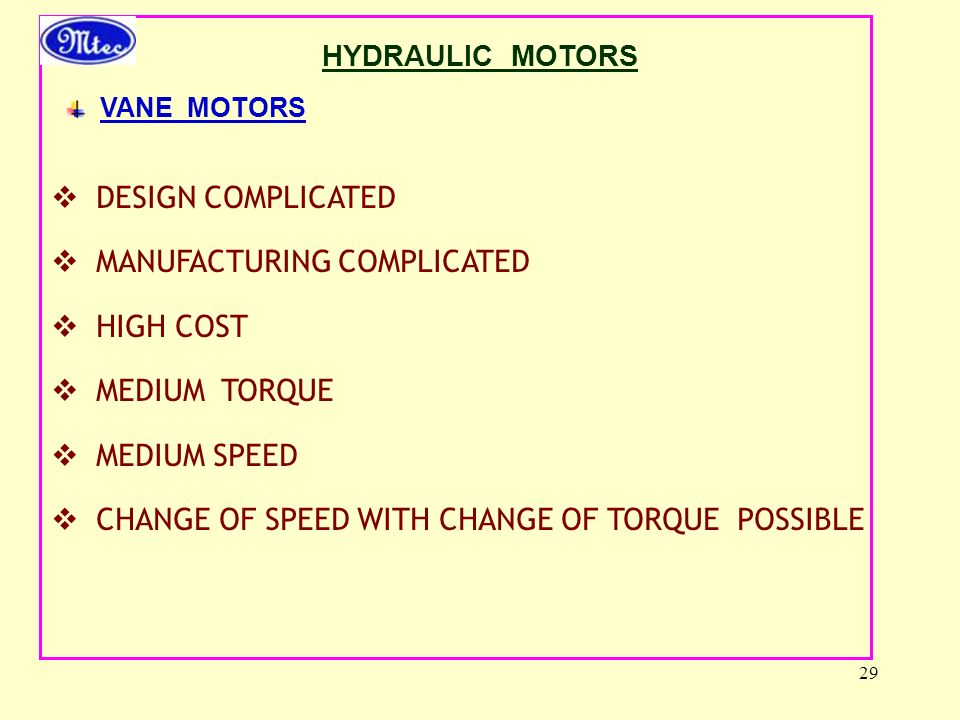 MANUFACTURING COMPLICATED HIGH COST MEDIUM TORQUE MEDIUM SPEED