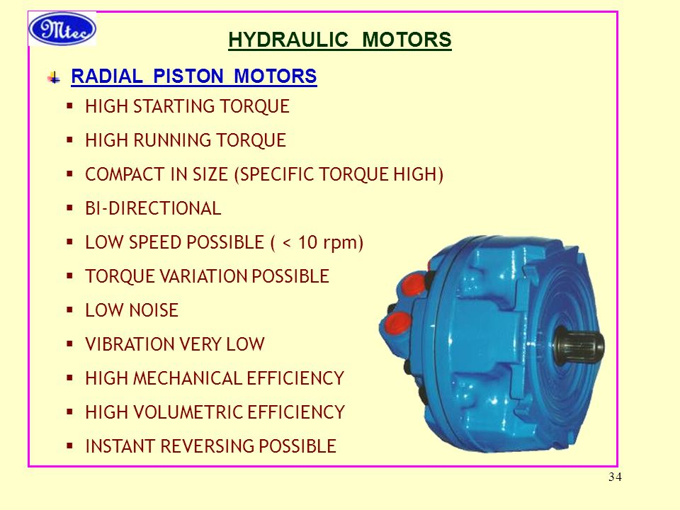 HYDRAULIC MOTORS RADIAL PISTON MOTORS HIGH STARTING TORQUE