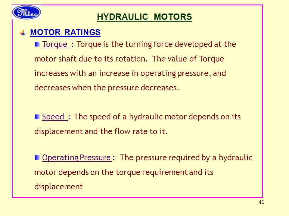 HYDRAULIC MOTORS MOTOR RATINGS