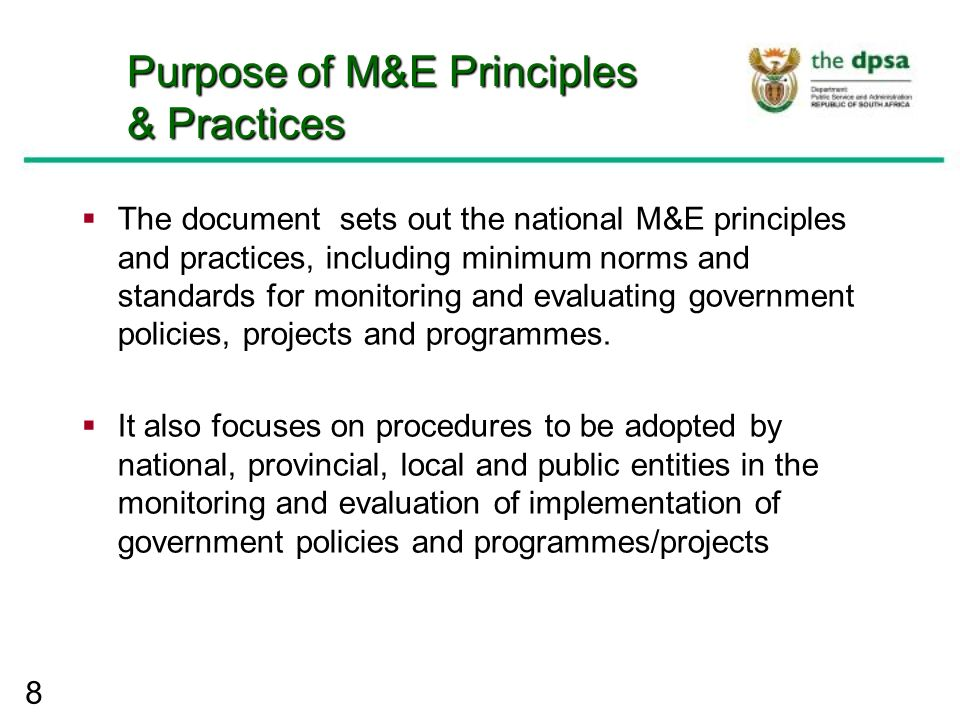 Government-wide monitoring and evaluation system (GWM&E ...