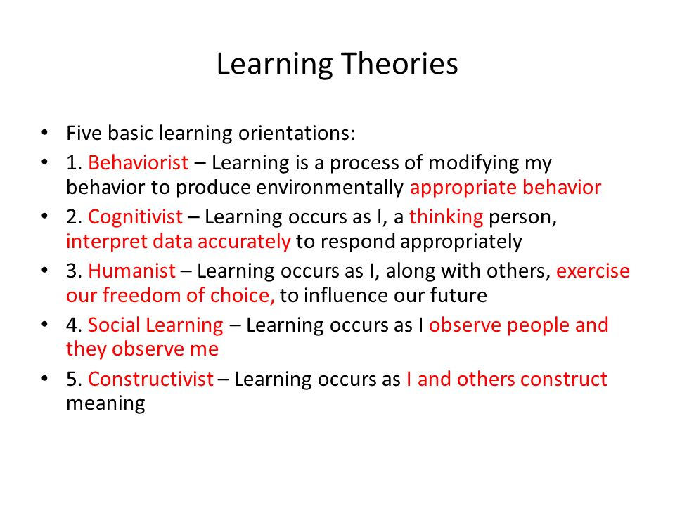 theories of learning and how they Social learning theory vs social cognitive theory  well i fell even though the two theories appear to overlap each other, they have a fundamental difference.