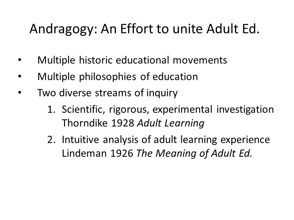 An analysis of andragogy in adult education systems