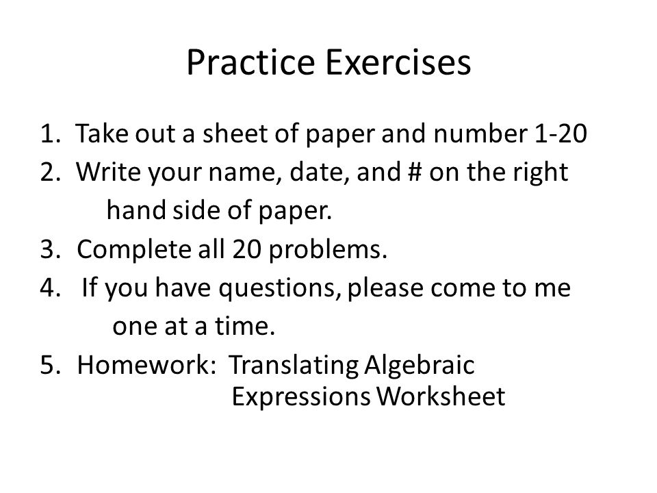 Phrases into Algebraic Expressions Worksheets