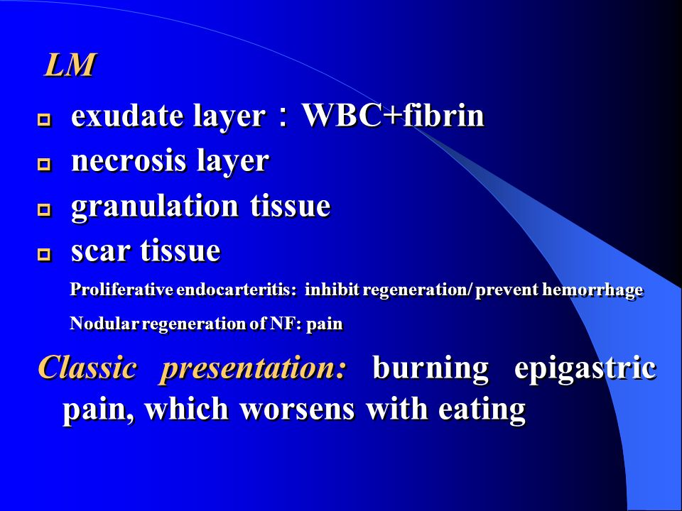 exudate layer:WBC+fibrin necrosis layer granulation tissue scar tissue