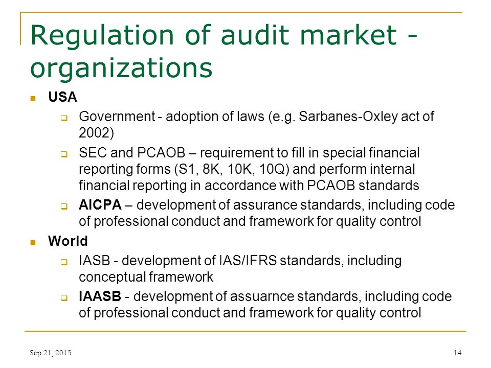 auditing self regulation and government regulation Auditing self regulation and government regulation  over the years the accounting profession has been subject to various forms of oversight with varying degrees of success - auditing self regulation and government regulation introduction.