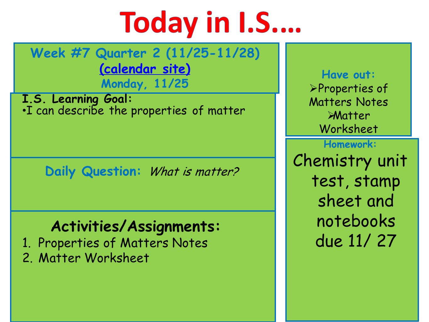 Today In Is Week 7 Quarter 2 1125 1128 Calendar Site Ppt