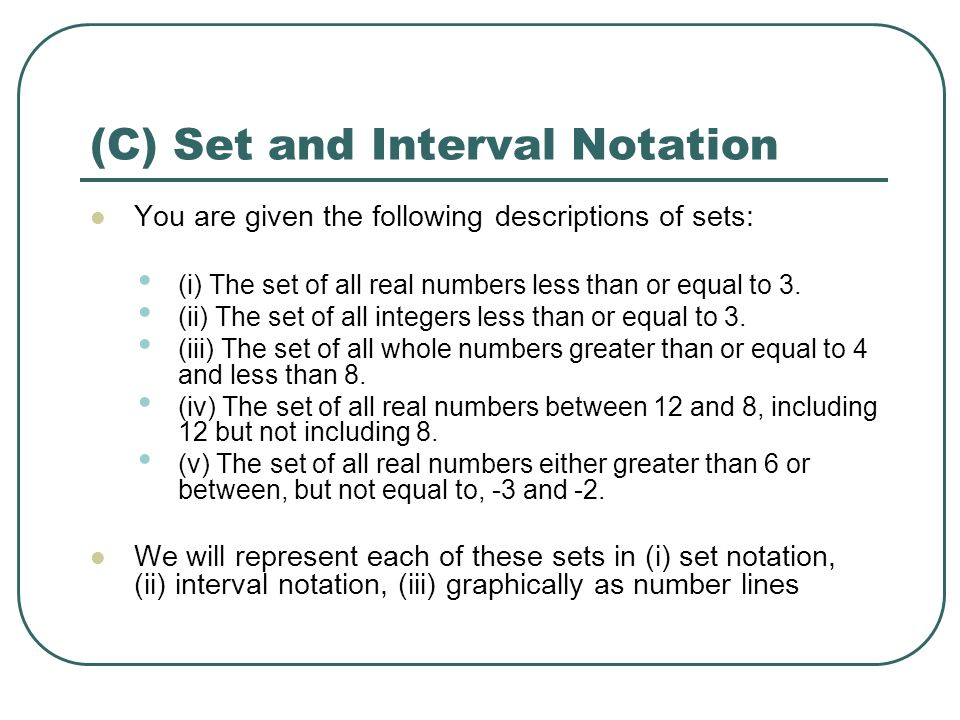 Lesson 1 Number Sets Set Notation ppt download – Interval Notation Worksheet