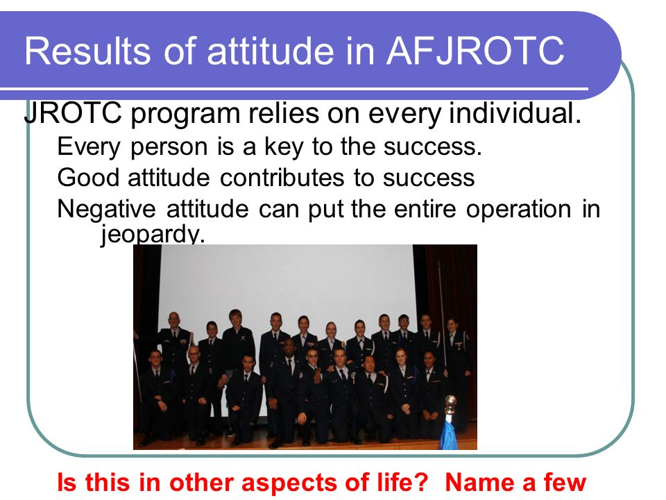 Results of attitude in AFJROTC
