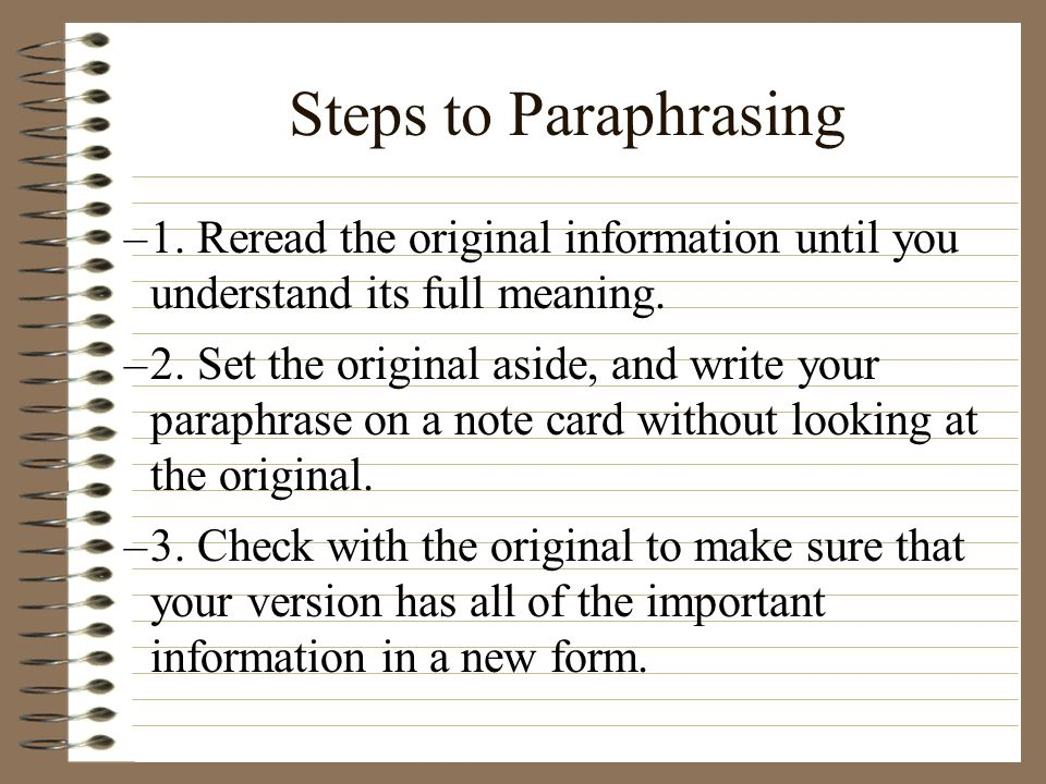 the meaning of paraphrasing
