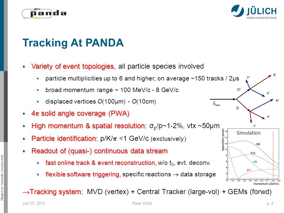 Tracking At PANDA Variety of event topologies, all particle species involved.