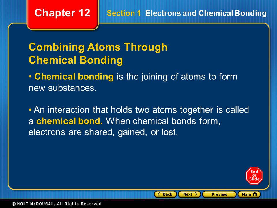 Preview Section 1 Electrons and Chemical Bonding Section 2 Ionic ...