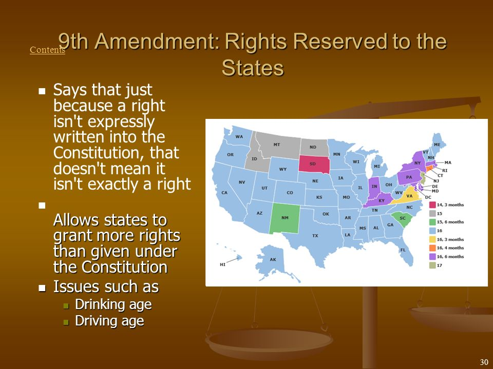 Rights Reserved To States Or People The first 10 amendment...