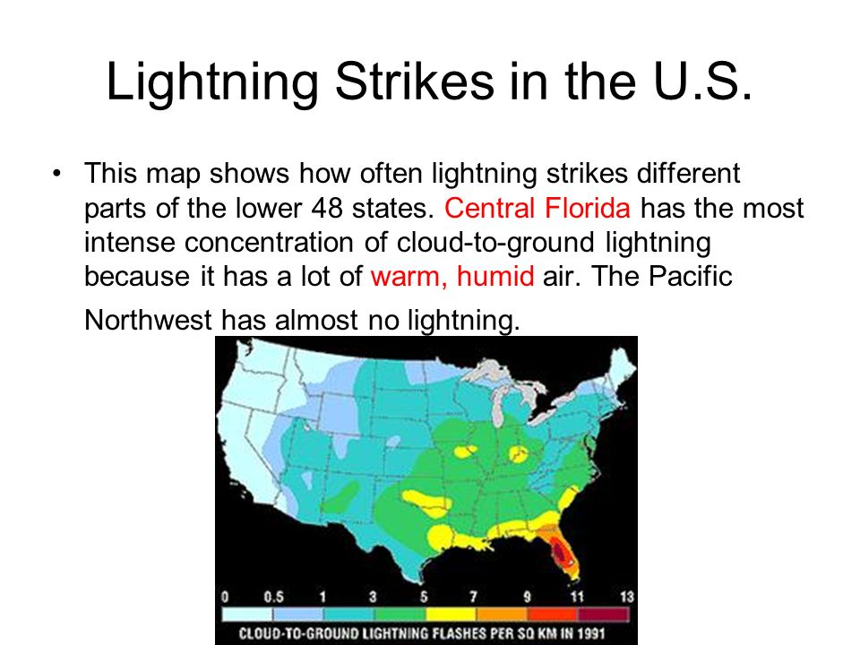Storms Ppt Video Online Download - Map of lightning strikes in the us