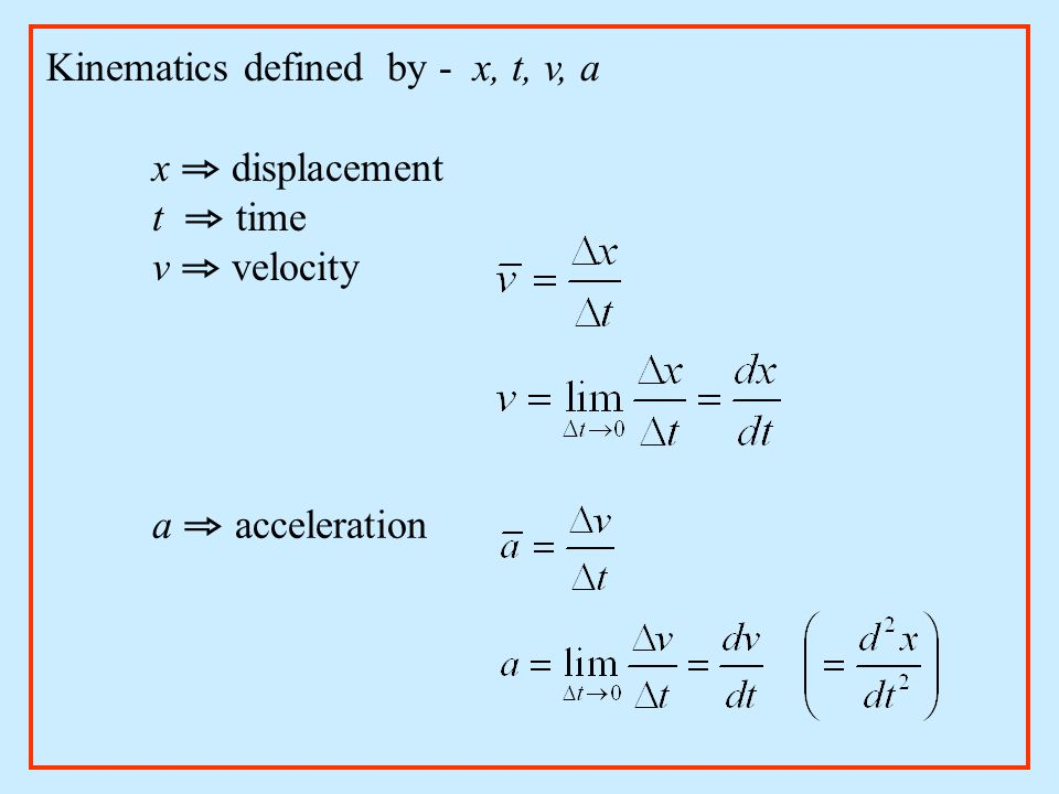 Kinematics defined by - x, t, v, a
