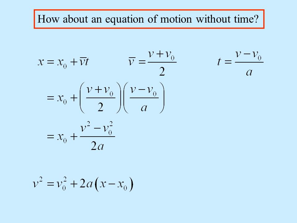How about an equation of motion without time
