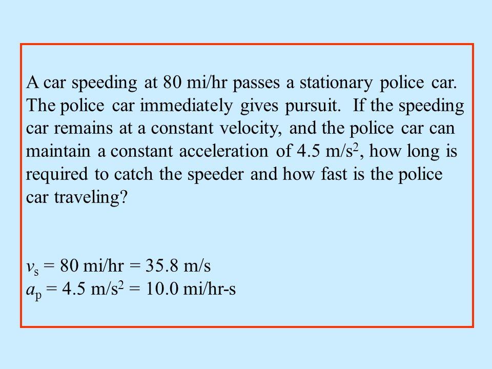 A car speeding at 80 mi/hr passes a stationary police car.
