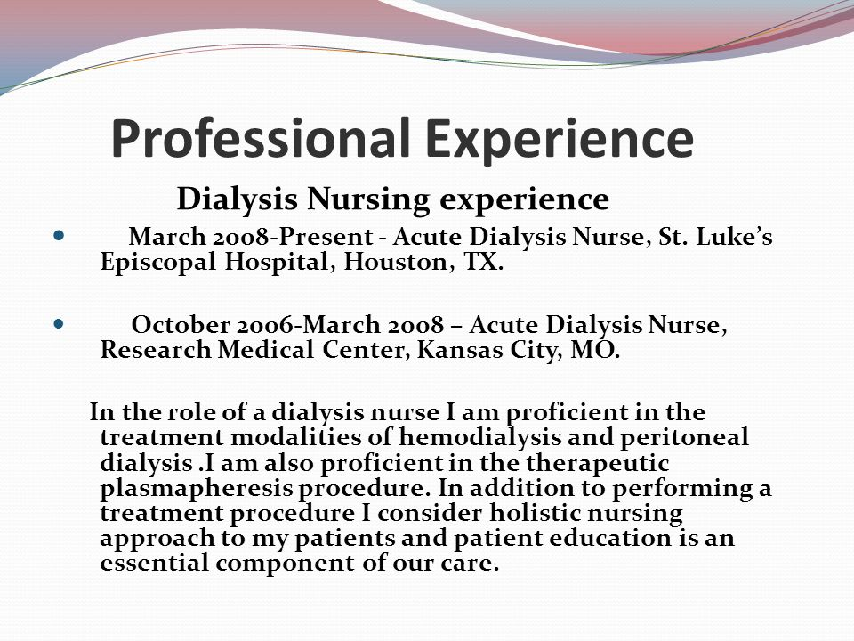 dialysis experience Executive team the members of our executive team lead by example and play an active role in daily operations allan i jacob, md – chairman and chief medical.
