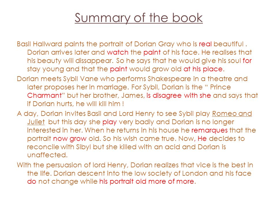 A summary of the picture of dorian gray