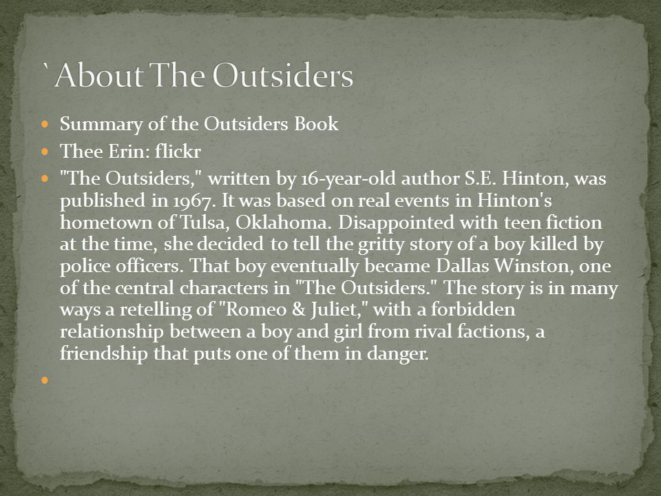 outsiders unite essay The outsiders unit dale m kennedy charlie gordon ann ndione 1 table of contents understanding by design themes & essential questions planning questions lesson plan student handout list outsiders project expectations what a character assignment (character sketch) grief essay assignment essay assignment (choice topics) journalism assignment movie poster assignment music & poetry.