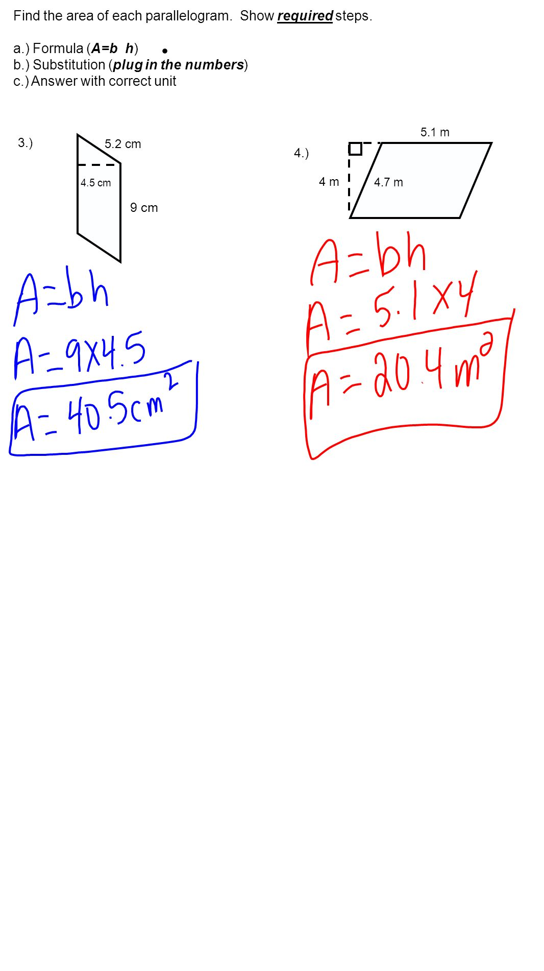 Find The Area Of Each Parallelogram Show Required Steps
