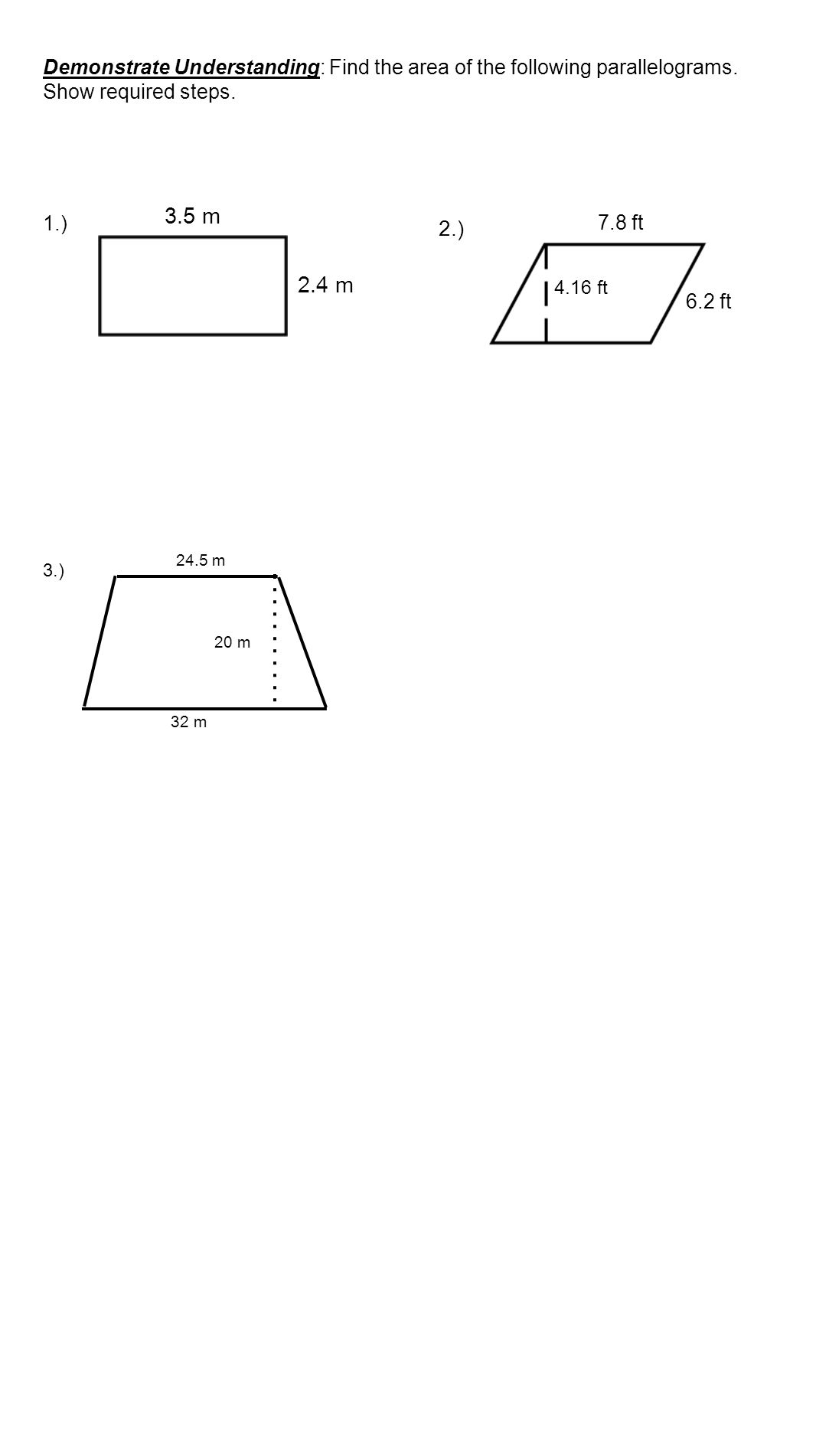 Demonstrate Understanding: Find The Area Of The Following Parallelograms  Show Required Steps