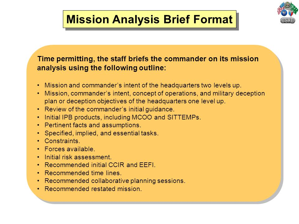 army briefing template - military decision making process mdmp ppt video online
