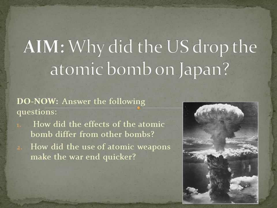an examination of the effects of the atomic bomb The department of clinical studies manages two major studies: in addition to the general examination atomic-bomb radiation effects on noncancer diseases.