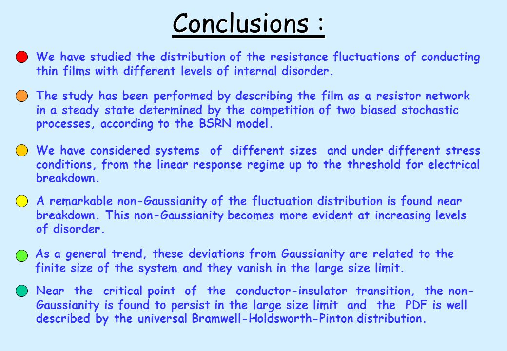 Conclusions : We have studied the distribution of the resistance fluctuations of conducting. thin films with different levels of internal disorder.