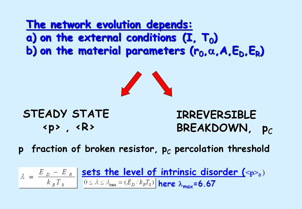 The network evolution depends: on the external conditions (I, T0)