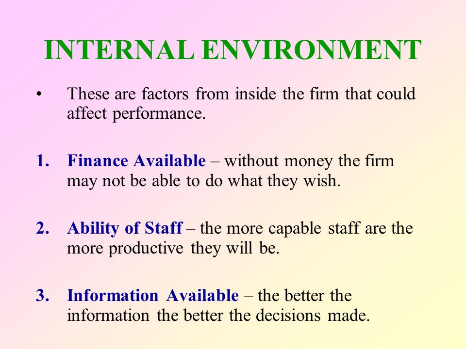 external internal factors affecting fedex Fedex's external environment both positively and negatively affects the organizations operations their external whether a corporation is dealing with the growing concerns of technological changes or internet privacy, external and internal factors will have a significant impact on day-to-day operations.