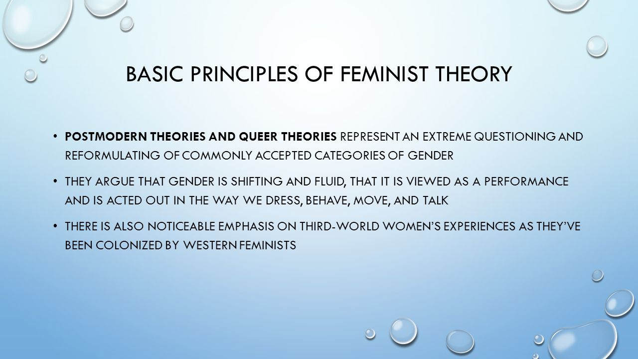 comparison of the theories of feminism Feminist theory extends feminism into the fields of philosophy and theoretical ideology the theory of feminism encompasses the fields of sociology, economics, anthropology, and philosophy the theory focuses on the study of gender inequality and the understanding of power relations, sexuality and gender politics.