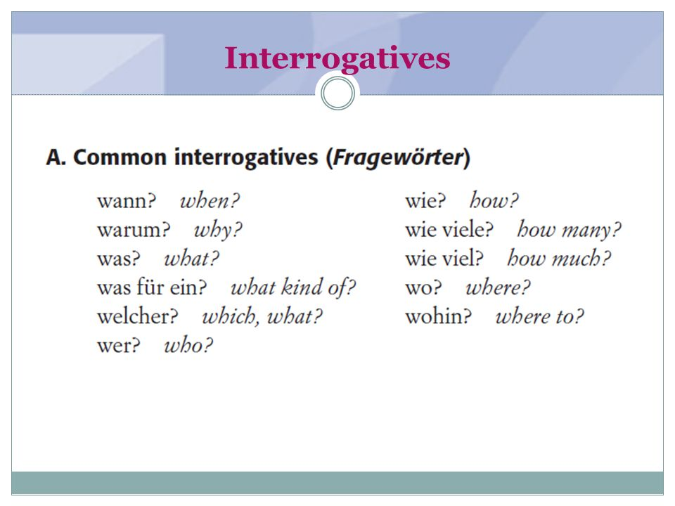 Interrogatives (textbook page 6)