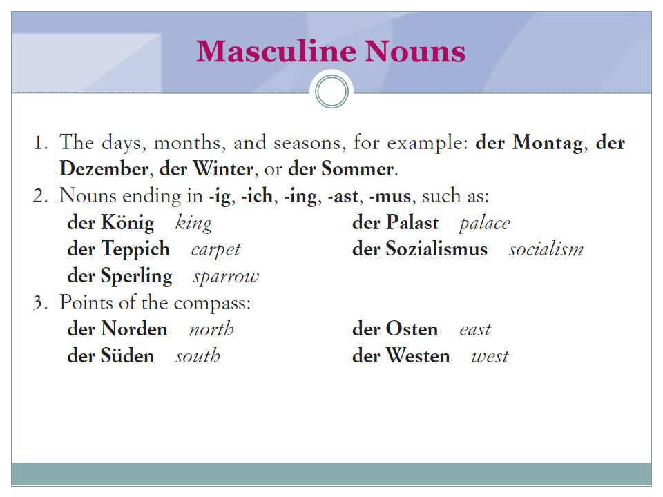 Masculine Nouns (textbook page 1-2)