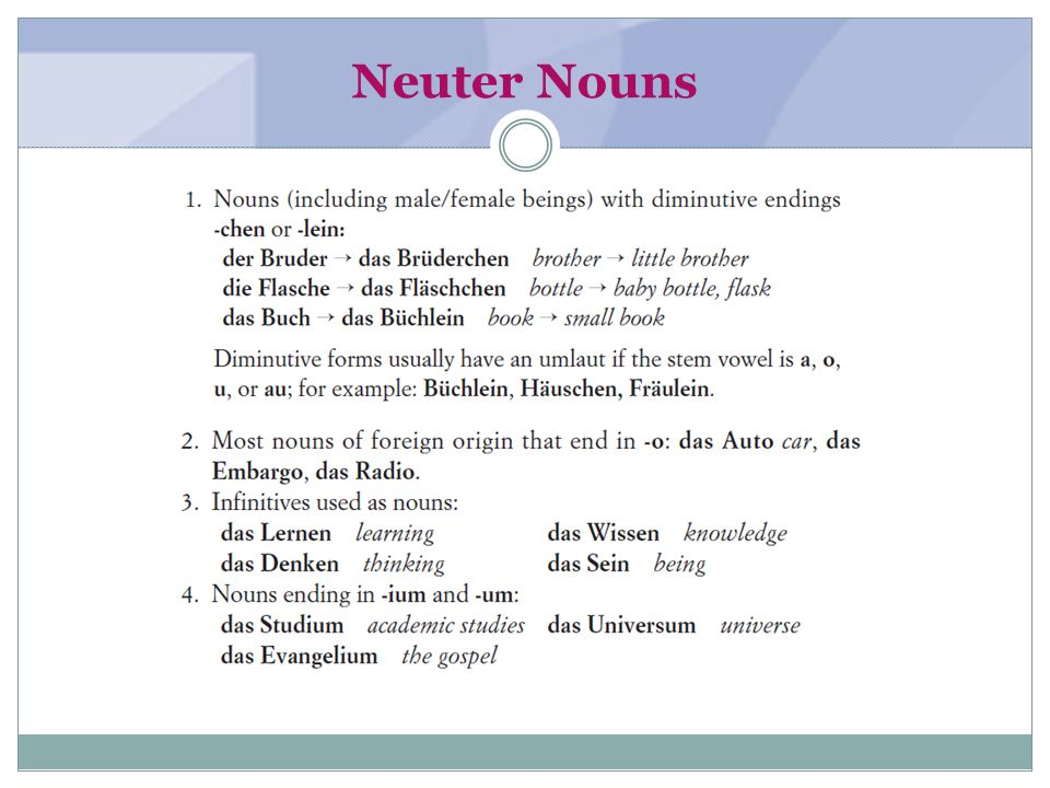 Neuter Nouns (textbook page 2-3)