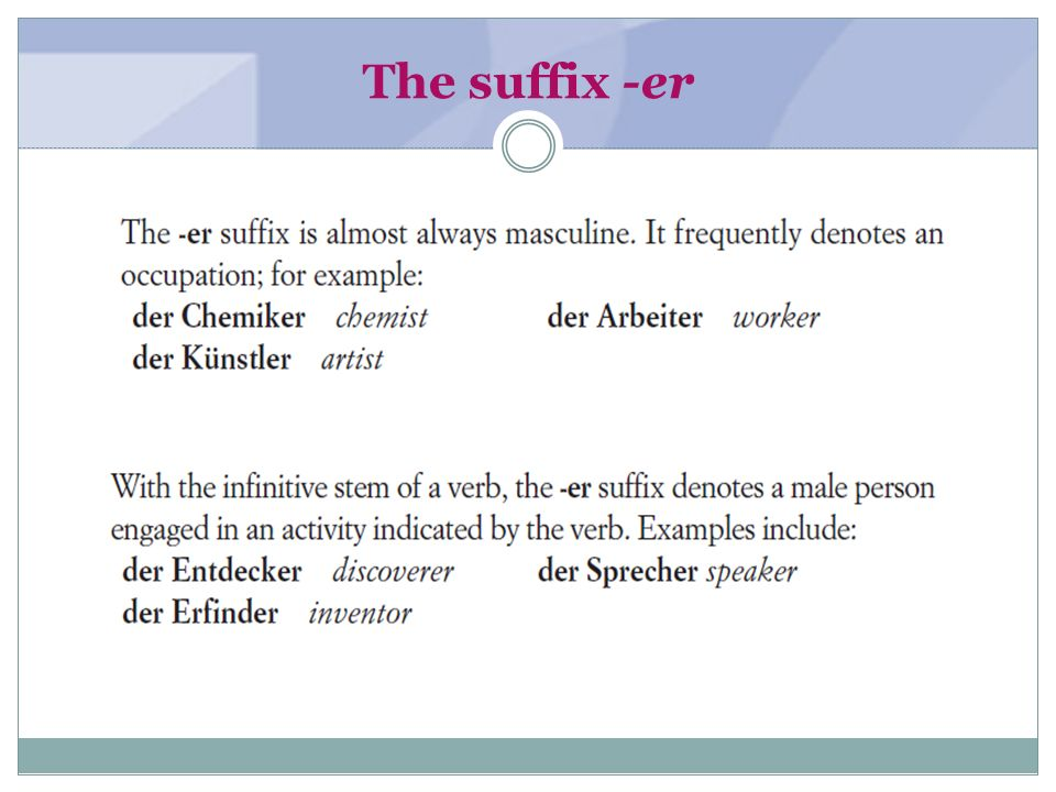 The suffix -er (textbook page 3) The suffix -er may also denote a male inhabitant (of a continent,