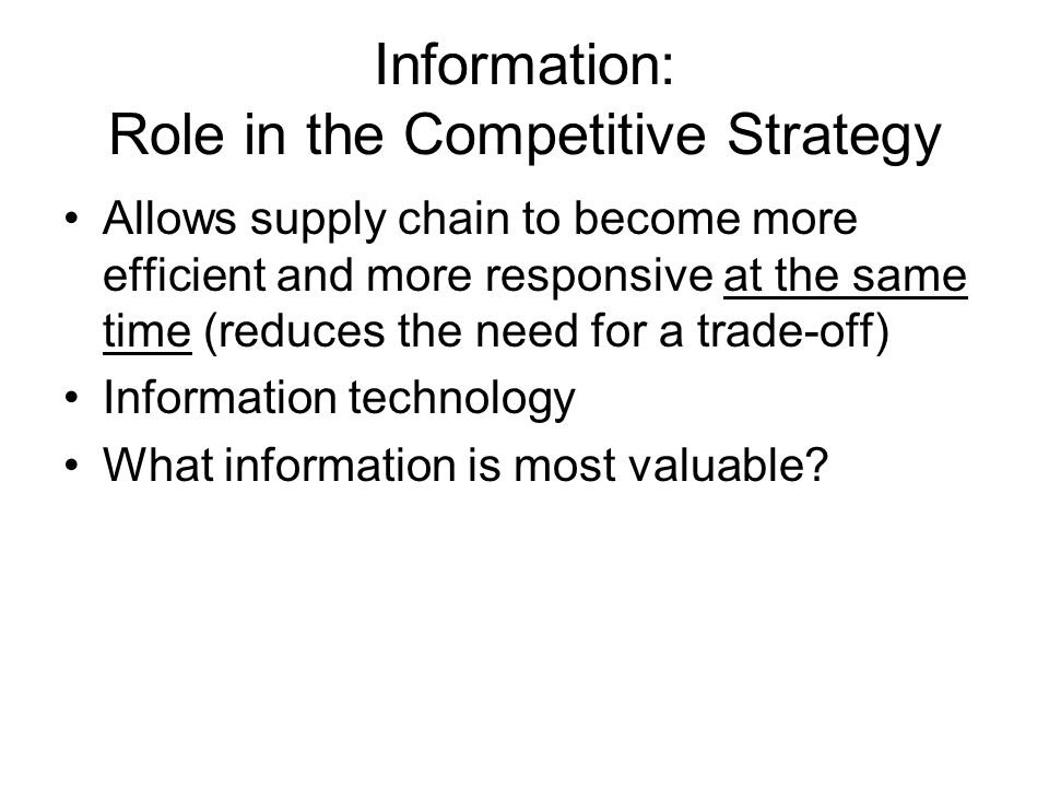role of information technology in supply chain management pdf