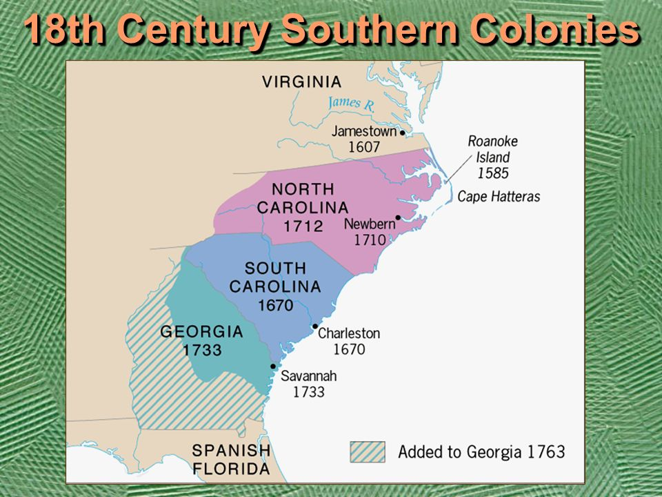 southern colonies and northern colonies and 18th century During the 18th century differences in life, thought, and interests had developed  between the southern and northern colonies the origin of these differences.