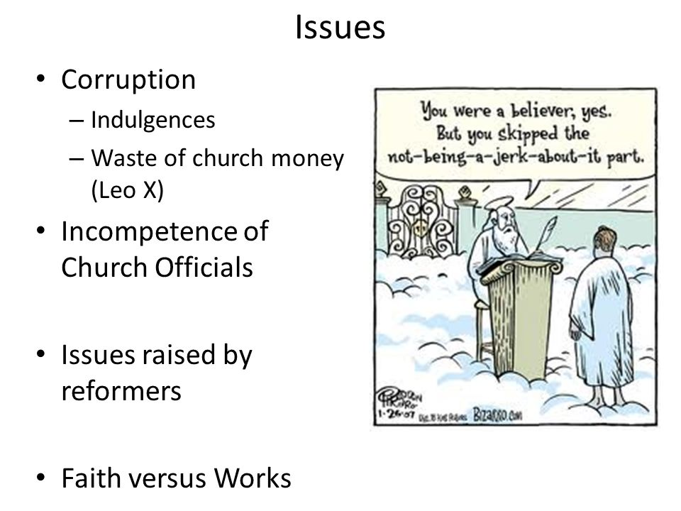 Issues Corruption Incompetence of Church Officials