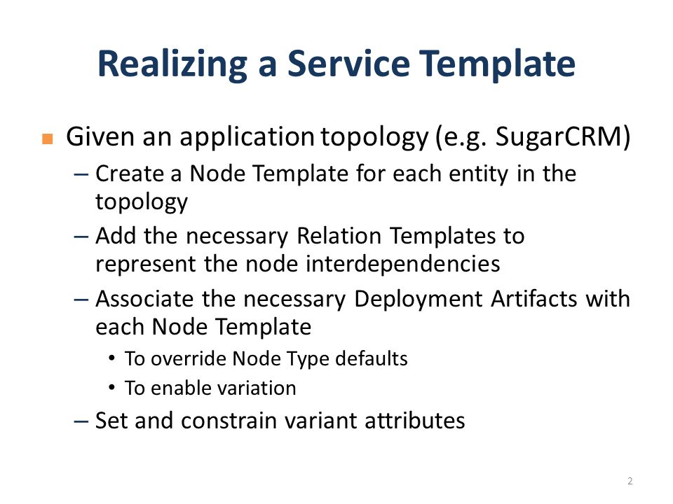 given an application topology e g sugarcrm create a node template