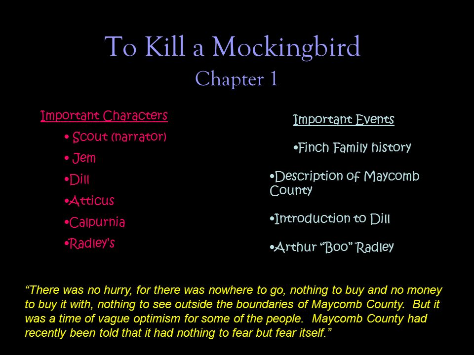 chapter 1 introduces readers to the town of maycomb it s appearance Chapter 1 chapter 1 introduces readers to the town of maycomb, its appearance, its inhabitants, and the particular attitudes of many of its people.