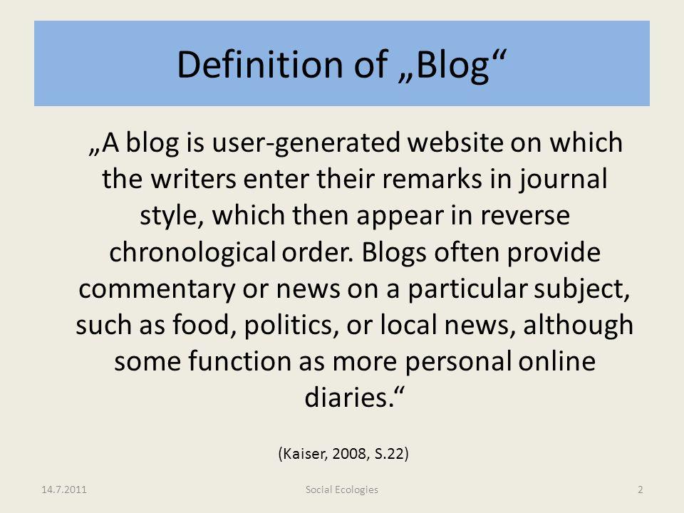 "Definition of ""Blog"