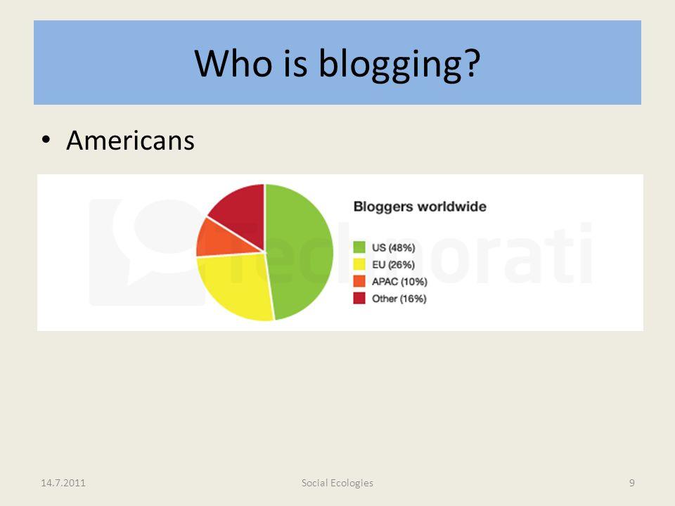 Who is blogging Americans 48% sind US-Bürger 26% Europäer