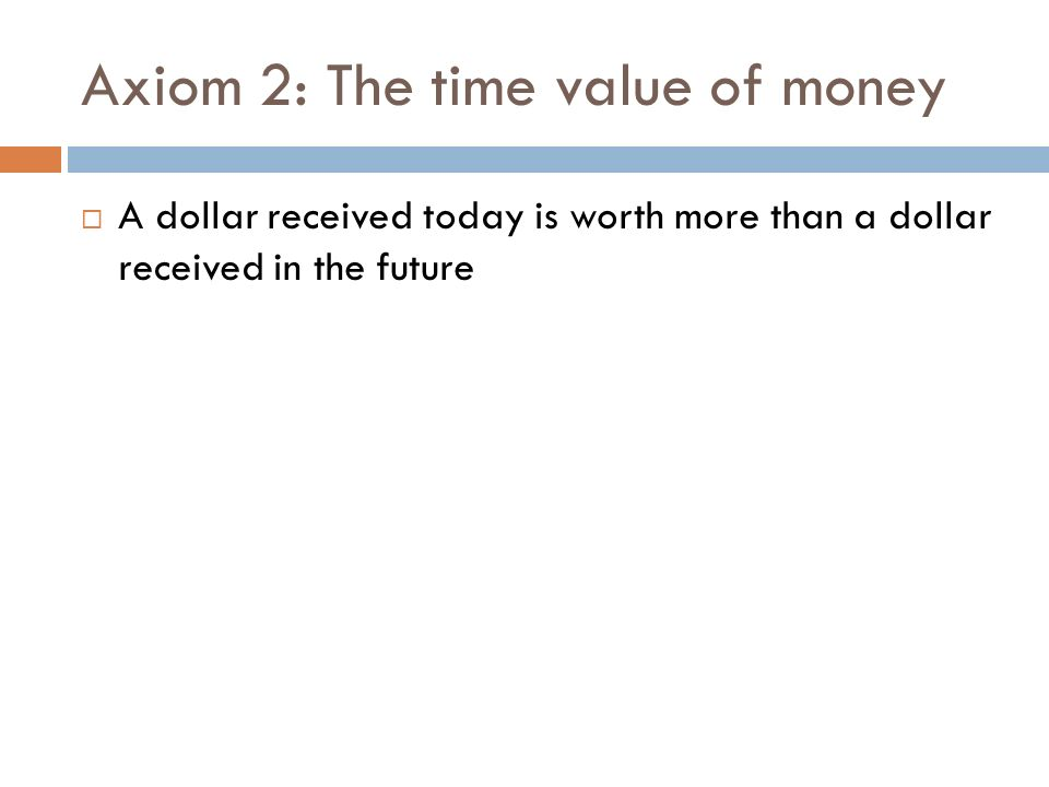 Axiom 2: The time value of money
