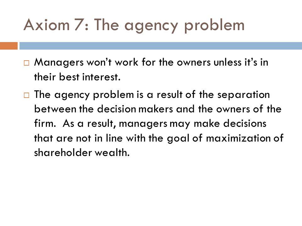 Axiom 7: The agency problem