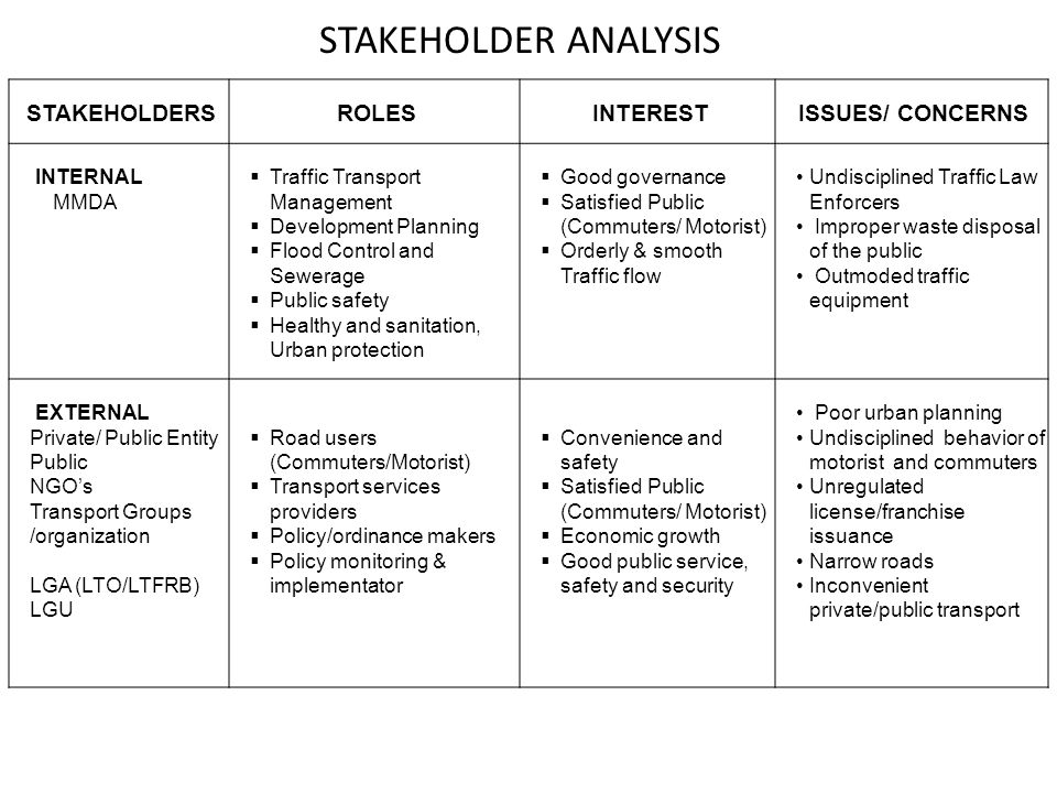 Stakeholder Roles and Responsibilities