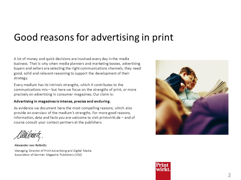 Good reasons for advertising in print