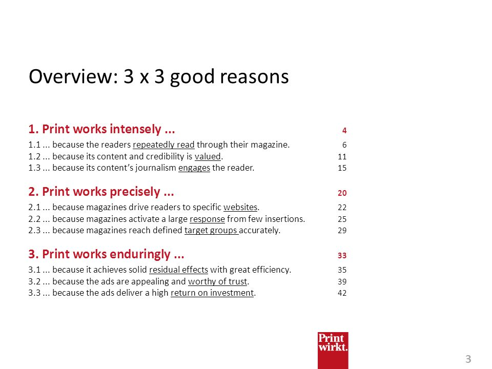 Overview: 3 x 3 good reasons