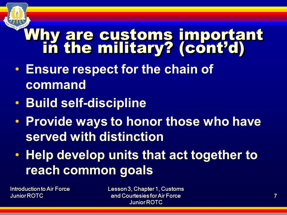 why military custom and courtesies are important Courtesies are also another source of discipline amongst the us soldiers this is vital in the army professional as it ensures high level of discipline amongst the soldiers military courtesy means good manners and politeness in dealing with other people.