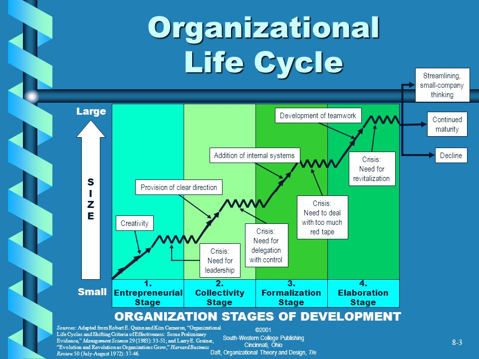 organizational life cycle How can a corporation keep from sliding into the decline part of the organizational life cycle murphy's law is the idea that anything that can go wrong eventually will go wrong.