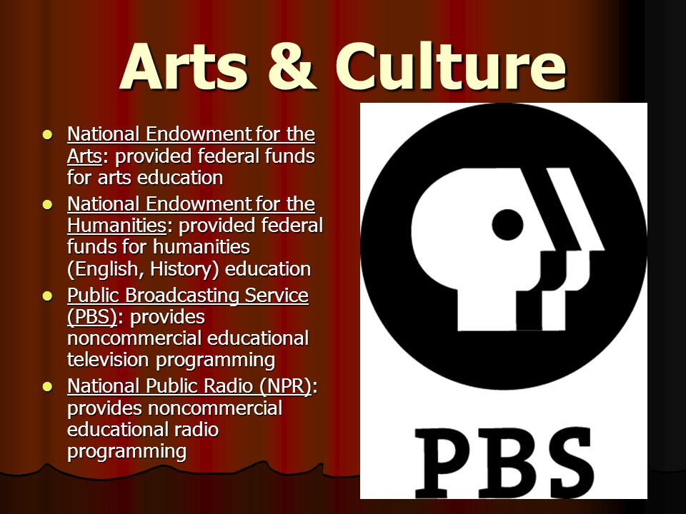 Arts & Culture National Endowment for the Arts: provided federal funds for arts education.